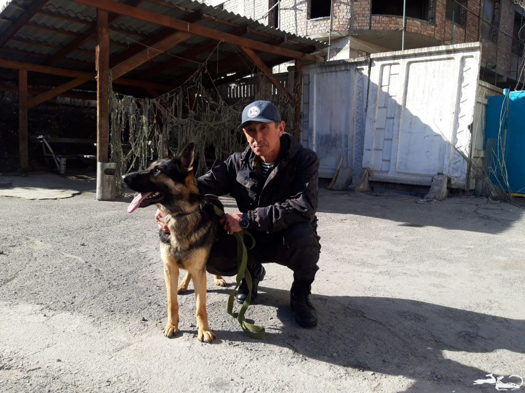 Introducing Chili the Sniffer Dog to Chaar-Archa Check Post